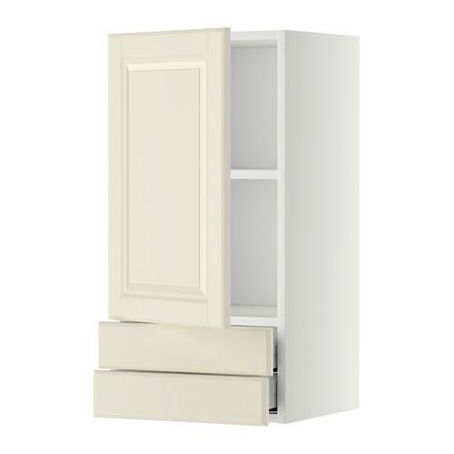 МЕТОД / МАКСИМЕРА Навесной шкаф с дверцей/2 ящика - 40x80 см, Будбин белый с оттенком, белый
