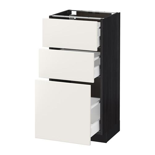 МЕТОД / МАКСИМЕРА Напольный шкаф с 3 ящиками - 40x37 см, Веддинге белый, под дерево черный