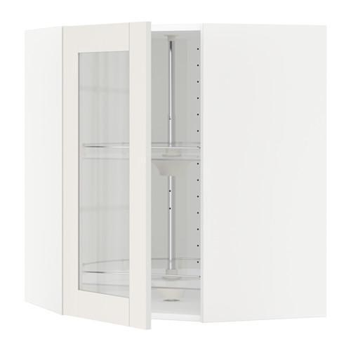 МЕТОД Углов навесн шк с врщ скц/сткл дв - 68x80 см, Сэведаль белый, белый
