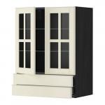 МЕТОД / МАКСИМЕРА Навесной шкаф/2 стек дв/2 ящика - 60x80 см, Будбин белый с оттенком, под дерево черный