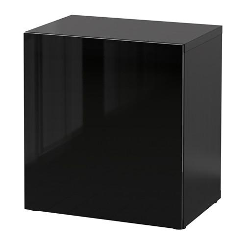 БЕСТО Стеллаж с дверью - черно-коричневый/Сельсвикен глянцевый/черный