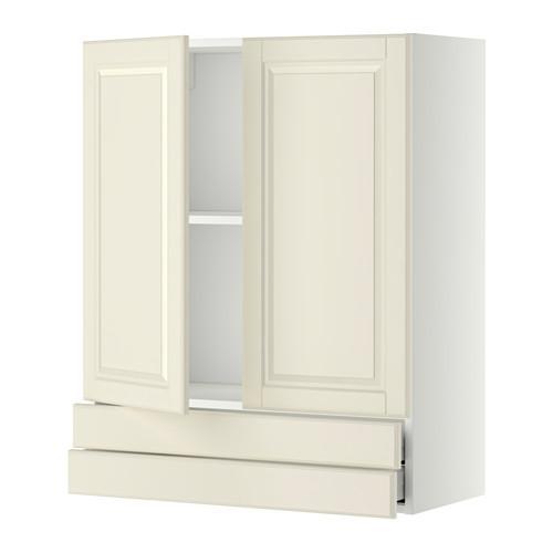 МЕТОД / МАКСИМЕРА Навесной шкаф/2дверцы/2ящика - 80x100 см, Будбин белый с оттенком, белый