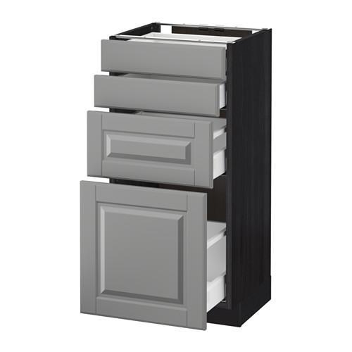 МЕТОД / МАКСИМЕРА Напольн шкаф 4 фронт панели/4 ящика - 40x37 см, Будбин серый, под дерево черный