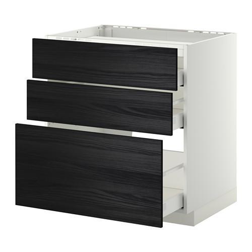 МЕТОД / МАКСИМЕРА Напольн шкаф/3фронт пнл/3ящика - 80x60 см, Тингсрид под дерево черный, белый