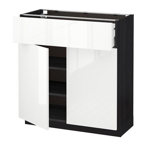 МЕТОД / МАКСИМЕРА Напольный шкаф+ящик/2дверцы - 80x37 см, Рингульт глянцевый белый, под дерево черный