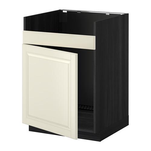 МЕТОД Нплн шкаф для одинарн мойки ДУМШЁ - Будбин белый с оттенком, под дерево черный