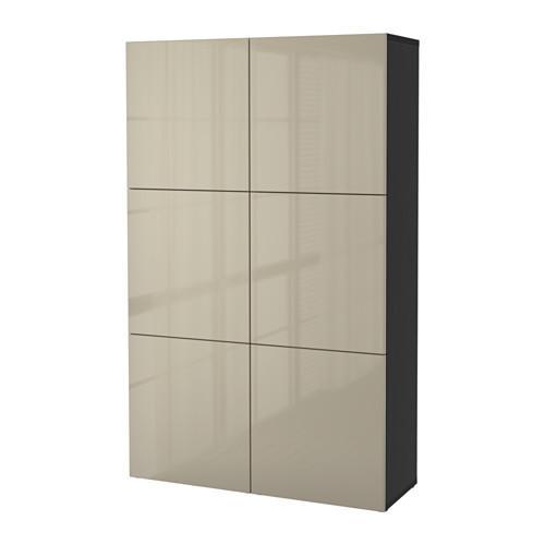 БЕСТО Комбинация для хранения с дверцами - черно-коричневый/Сельсвикен глянцевый/бежевый