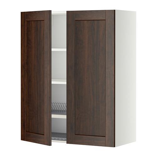 МЕТОД Навесной шкаф с посуд суш/2 дврц - 80x100 см, Эдсерум под дерево коричневый, белый