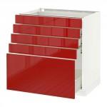 МЕТОД / ФОРВАРА Напольный шкаф с 5 ящиками - 80x60 см, Рингульт глянцевый красный, белый