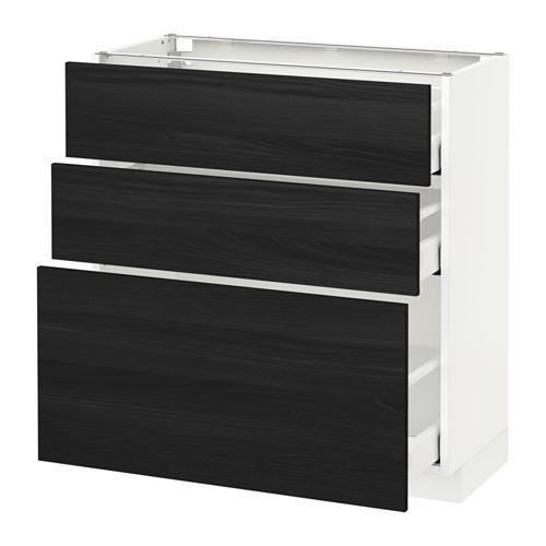 МЕТОД / МАКСИМЕРА Напольный шкаф с 3 ящиками - белый, Тингсрид под дерево черный, 80x37 см
