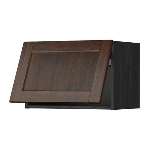 МЕТОД Горизонтальный навесной шкаф - 60x40 см, Эдсерум под дерево коричневый, под дерево черный