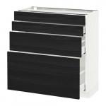 МЕТОД / МАКСИМЕРА Напольн шкаф 4 фронт панели/4 ящика - 80x37 см, Тингсрид под дерево черный, белый
