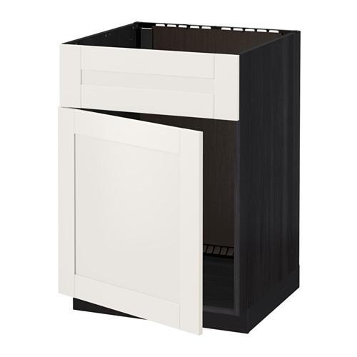 МЕТОД Напольный шкаф п-мойку с дв/фр пнл - Сэведаль белый, под дерево черный