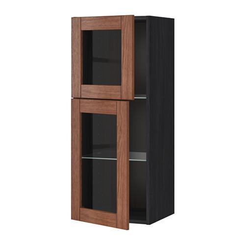 МЕТОД Навесной шкаф с полками/2 стекл дв - под дерево черный, Филипстад коричневый