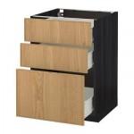 MÉTODO gabinete / FORVARA Base con cajones 3 - madera 60x60 cm Ekestad roble negro