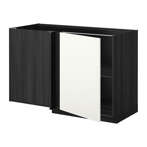 МЕТОД Угловой напольный шкаф с полкой - Хэггеби белый, под дерево черный