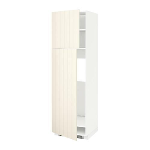 МЕТОД Высокий шкаф д/холодильника/2дверцы - 60x60x200 см, Хитарп белый с оттенком, белый