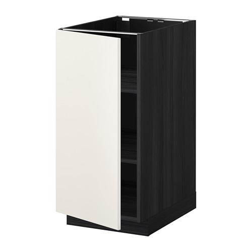 МЕТОД Напольный шкаф с полками - 40x60 см, Веддинге белый, под дерево черный