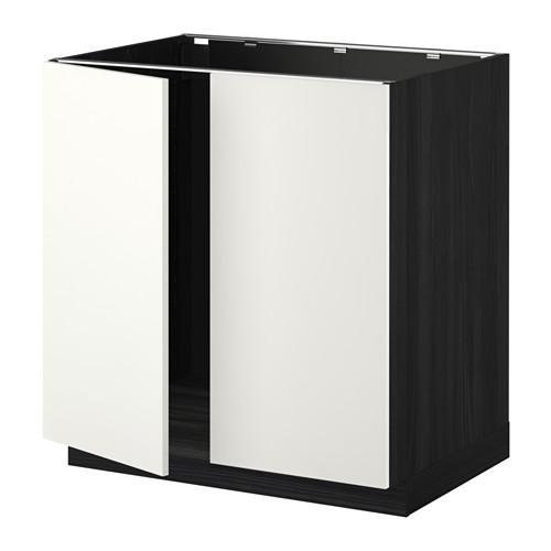 МЕТОД Напольн шкаф д раковины+2 двери - Хэггеби белый, под дерево черный