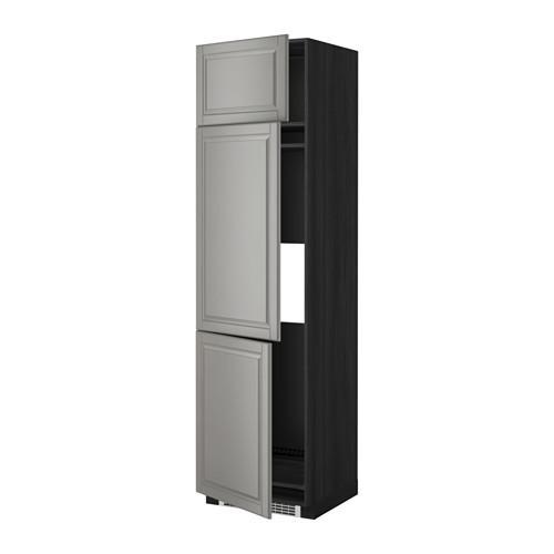 МЕТОД Выс шкаф для хол/мороз с 3 дверями - 60x60x220 см, Будбин серый, под дерево черный