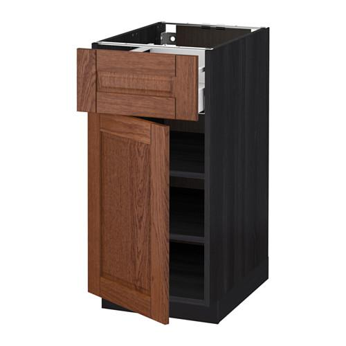 МЕТОД / МАКСИМЕРА Напольный шкаф с ящиком/дверью - 40x60 см, Филипстад коричневый, под дерево черный