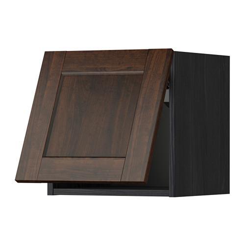 МЕТОД Горизонтальный навесной шкаф - 40x40 см, Эдсерум под дерево коричневый, под дерево черный