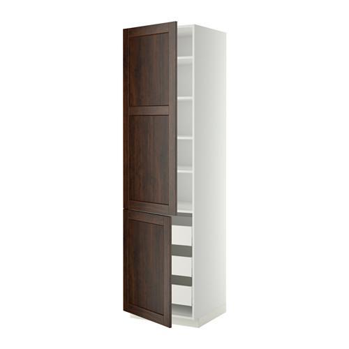 МЕТОД / МАКСИМЕРА Высокий шкаф+полки/3 ящика/2 дверцы - 60x60x220 см, Эдсерум под дерево коричневый, белый