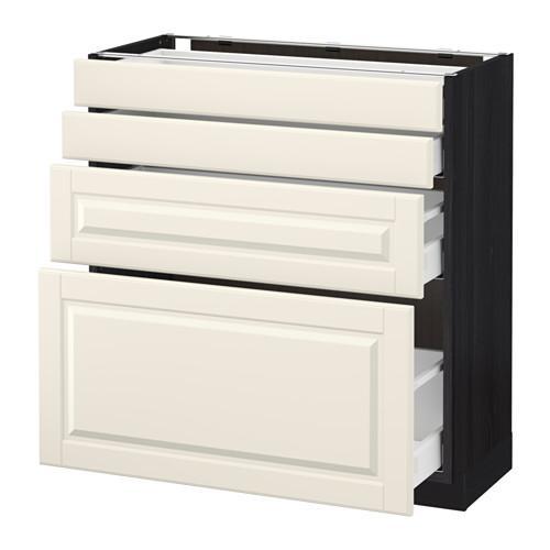 МЕТОД / МАКСИМЕРА Напольн шкаф 4 фронт панели/4 ящика - 80x37 см, Будбин белый с оттенком, под дерево черный