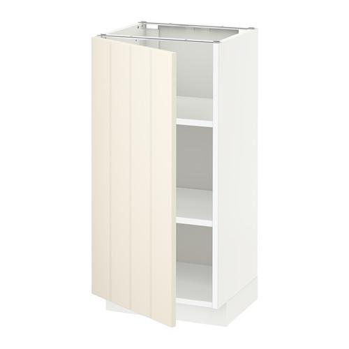 МЕТОД Напольный шкаф с полками - 40x37 см, Хитарп белый с оттенком, белый