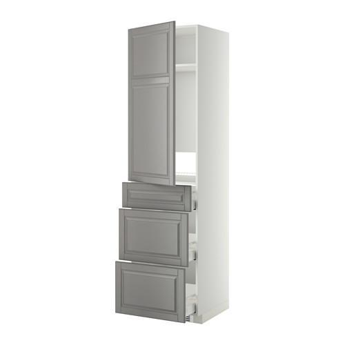 МЕТОД / МАКСИМЕРА Выс шкаф д/холодильн, с дврц/3 ящ - Будбин серый, белый