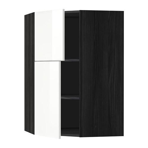 МЕТОД Угловой навесной шкаф+полки/2дверцы - Рингульт глянцевый белый, под дерево черный