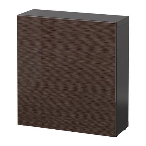 БЕСТО Стеллаж с дверью - черно-коричневый/Сельсвикен глянцевый/коричневый
