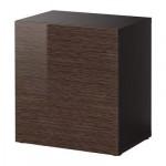 БЕСТО Стеллаж с дверью - черно-коричневый/Тофта глянцевый/коричневый