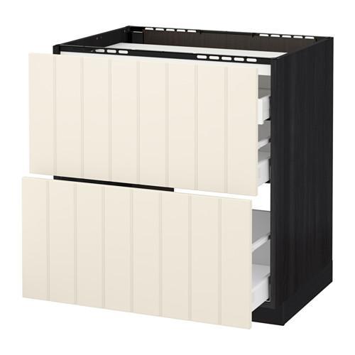 МЕТОД / МАКСИМЕРА Напольн шкаф/2 фронт пнл/3 ящика - 80x60 см, Хитарп белый с оттенком, под дерево черный