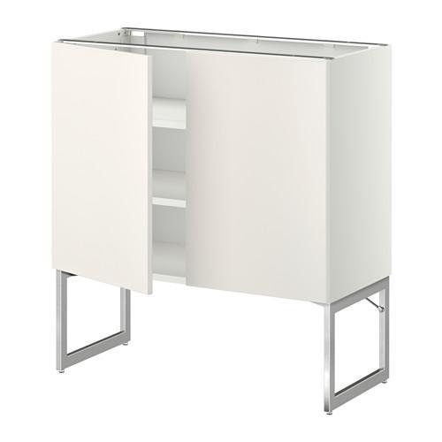 МЕТОД Напол шкаф с полками/2двери - 80x37x60 см, Веддинге белый, белый
