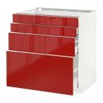 МЕТОД / МАКСИМЕРА Напольн шкаф 4 фронт панели/4 ящика - 80x60 см, Рингульт глянцевый красный, белый