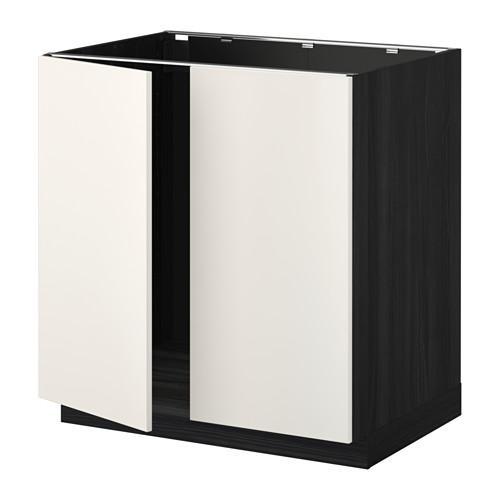 МЕТОД Напольн шкаф д раковины+2 двери - Веддинге белый, под дерево черный