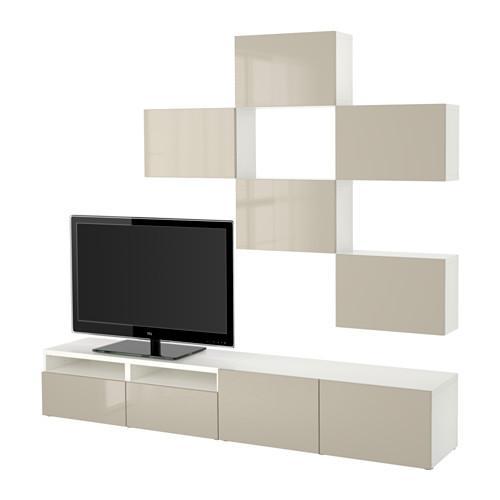 BESTÅ TV-Schrank-Kombination - weiß / Hochglanz Selsviken / beige, Box  Schienen, Push