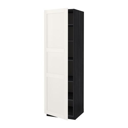 МЕТОД Высок шкаф с полками - 60x60x200 см, Сэведаль белый, под дерево черный