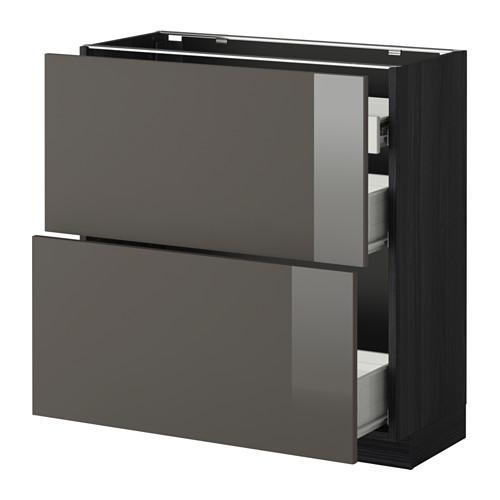 VERFAHREN / FORVARA Nap Schrank 2 FRNT PNL / 1nizk / 2sr Schubladen - Holz schwarz, glänzend grau Ringult, 80x37 cm