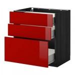 МЕТОД / ФОРВАРА Напольный шкаф с 3 ящиками - 80x60 см, Рингульт глянцевый красный, под дерево черный