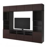 БЕСТО Шкаф для ТВ, комбин/стеклян дверцы - черно-коричневый/Инвикен черно-коричневый прозрачное стекло, направляющие ящика, плавно закр