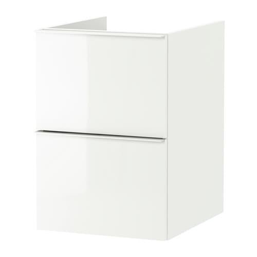 GODMORGON Waschbecken Schrank mit 2 Kiste - Glanzweiß, 40x47x58 sehen
