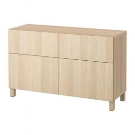 BESTÅ Combe for storing with doors / drawers - Lappviken a bleached oak, box rails, push