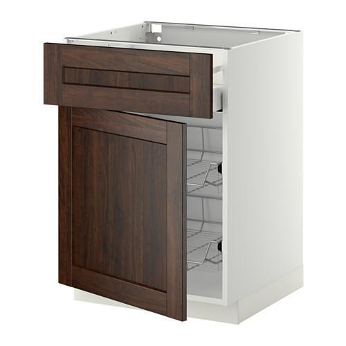 МЕТОД / МАКСИМЕРА Напольн шкаф с пров корз/ящ/дверью - 60x60 см, Эдсерум под дерево коричневый, белый