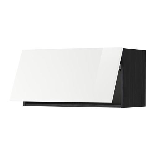 МЕТОД Горизонтальный навесной шкаф - 80x40 см, Рингульт глянцевый белый, под дерево черный
