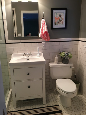 Small bathroom with IKEA sink and HEMNES cabinet