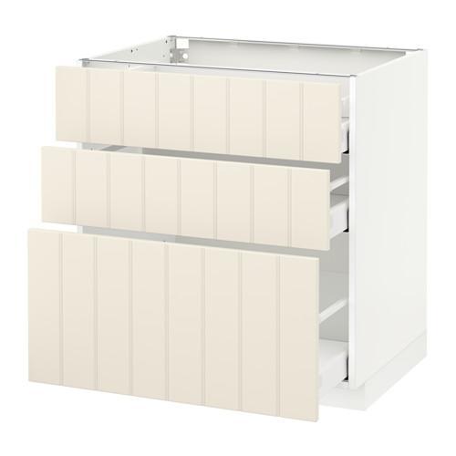 МЕТОД / МАКСИМЕРА Напольный шкаф с 3 ящиками - 80x60 см, Хитарп белый с оттенком, белый