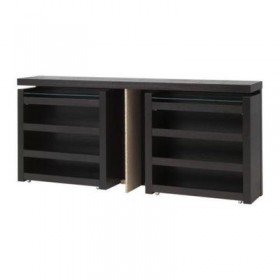 MALM headboard / bedside shelf, 3 pieces - black-brown, 180 see