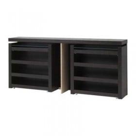 MALM Cabecero / estante de noche, piezas 3 - negro-marrón, 180 ver